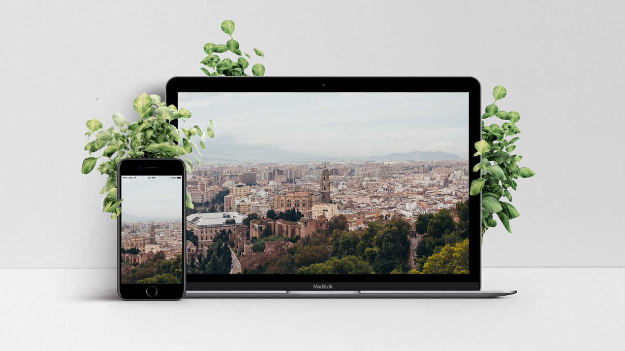 Mockup of the wallpaper with a view over Malaga