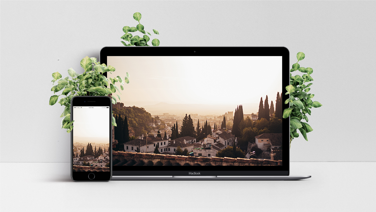 mockup of wallpaper with granada